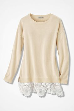 Lace Peek Sweater, Vanilla