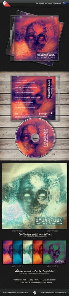 Neurofunk - Hardcore CD Cover Template PSD. Download here: http://graphicriver.net/item/neurofunk-hardcore-cd-cover-template/14293942?ref=ksioks