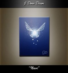 Zelda - Navi fairy - link blue mythical wings fairy dust 8x10 canvas original acrylic painting wall art home decor white video game sci-fi