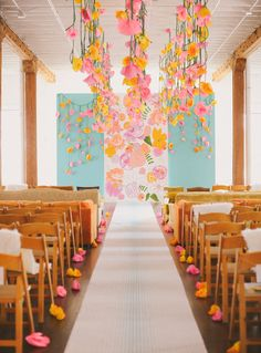 Paper flowers are such a playful and vibrant way to decorate your wedding ceremony space. These hanging paper flower designs are a prime example of wedding decor that has high impact yet stays playful and light! Wedding Ceremony Ideas, Ceremony Backdrop, Wedding Trends, Wedding Reception, Party Decoration, Wedding Decorations, Hanging Paper Flowers, Wedding Colors, Wedding Flowers