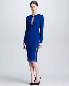 Lace Keyhole Long-Sleeve Dress by Roberto Cavalli at Bergdorf Goodman.