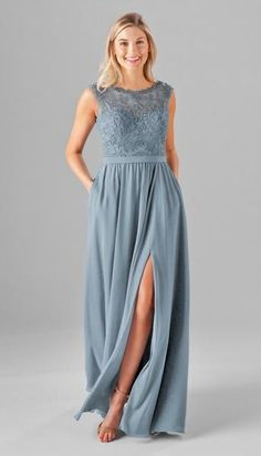Shop the Kennedy Blue Jade Bridesmaid Dress! With an embroidered top and chiffon skirt, this A-line gown features an off the shoulder bateau neck and V-back. Jade Bridesmaid Dresses, Lace Bridesmaids, Wedding Dresses, Wedding Skirt, Homecoming Dresses, Long Chiffon Skirt, Chiffon Fabric, Lace Chiffon, Chiffon Dresses