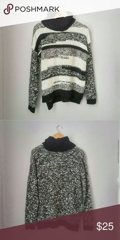 Jessica Simpson Striped Cowl Neck Sweater Lg NWOT New never worn! 62% cotton 38% acrylic. Black, offwhite, and Heather Gray.  Bundle for best deals! Jessica Simpson Sweaters Cowl & Turtlenecks