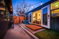 Shipping Container Home used as a Backyard Additional Dwelling Unit Tiny Living, Living Spaces, Tiny House Community, Simply Home, Shipping Container Homes, Shipping Containers, Shipping Container Interior, Cedar Siding, Modern Tiny House
