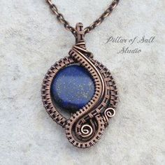 Lapis lazuli copper wire wrapped pendant jewelry woven wire necklace | Pillar of Salt Studio