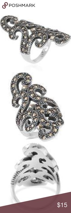Swiss Marcasite Black Stainless Steel Ring Designed with shapely swirls, this sassy ring is bound to be your go-to accessory for a fashionable dance night out look. Dusted with Swiss marcasite, the piece is forged in black oxidized stainless steel. Jewelry Rings