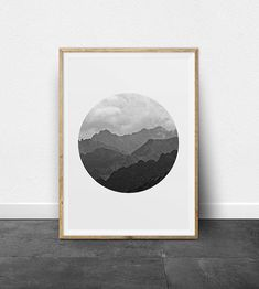 Printable Art - Black and White Mountain Range Photographic Print.  This is a digital photographic print that can be downloaded and printed from home. It is a simple, minimalist black and white print. The shades of the mountain range create an abstract ombre effect within the
