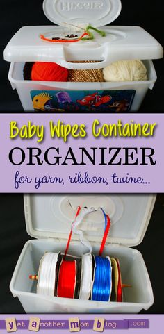 Upcycle a Huggies baby wipes container into an organizer for balls of yarn, spools of ribbon, or twine. #reuse #recycle #thrifty