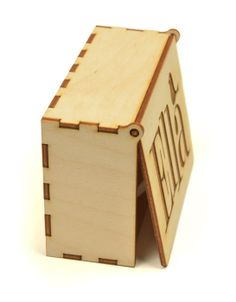 A wooden box with hinged lid