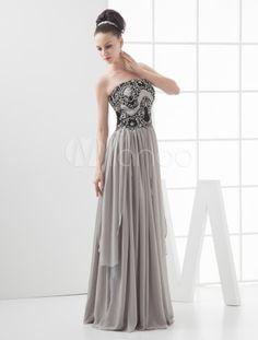 Grace Gray Chiffon Strapless Paillette Decoration Prom Dress-No.3