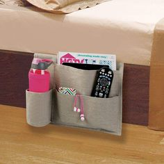 Fabric Bedside Caddy Storage Organizer, 4 Pockets in Light Gray, Pack of by mDesign Home Office Organization, Craft Organization, Magnetic Spice Tins, Bedside Caddy, Deco Zen, Tie Hanger, Inexpensive Furniture, Container Store, Wooden Crates