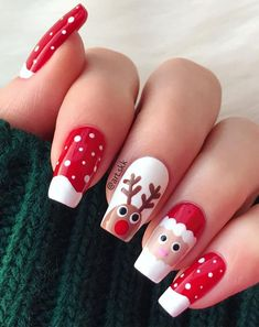 Nail Art or what we often call painting/drawing nails is a modern art that is recently rife among women. If we look at several beauty salons, there are services to design nail art so that the nails… Xmas Nail Art, Cute Christmas Nails, Xmas Nails, Christmas Nail Art Designs, Holiday Nails, Christmas 2019, Holiday Mood, Winter Christmas, Christmas Ideas