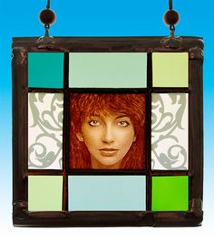 Kate Bush, Kate Bush stained glass, Kate Bush suncatcher, Kate Bush portrait, kilnfired stained glass, suncatcher, gift, nice gift, ginger door StainedGlassElements op Etsy