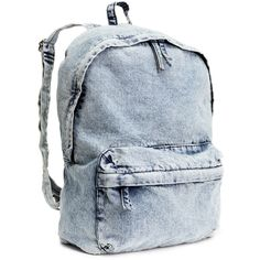 H&M Backpack found on Polyvore featuring bags, backpacks, accessories, bolsos, light denim blue, zip bags, denim backpack, zipper bag, blue backpack and blue denim backpack