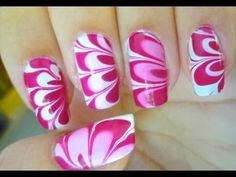 How to Marble your Nails - Tutorial (Pink Flower) - YouTube