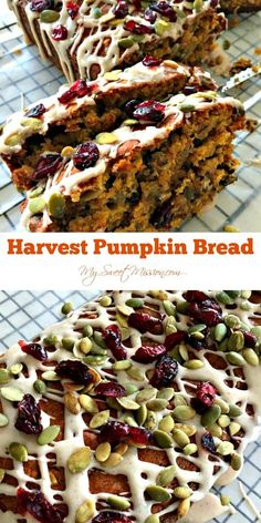 Our Harvest Pumpkin Bread may be the BEST pumpkin bread you ever tasted! It's super moist not too sweet and has flavors of pumpkin cinnamon and vanilla with 4 cups of delicious dried fruits nuts and seeds mixed in! Pumpkin Cake Recipes, Pumpkin Bread, Pumpkin Dessert, Paleo Breakfast, Breakfast Recipes, Breakfast Fruit, Breakfast Bites, Breakfast Muffins, Quick Bread Recipes