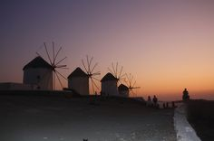 Mykonos: Dazzlingly white and windswept, with superb sandy beaches, blue-domed churches, & windmills. Luxury Villas In Greece, Mykonos Island, Luxury Accommodation, Windmills, Sandy Beaches, Greek Islands, Exploring, Vacation, Sunset