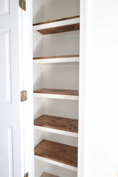 Learn how to build DIY pantry shelves to update your pantry closet with functional and pretty shelving! These wood pantry shelves are easy and affordable and are great for a pantry makeover! diy easy DIY Pantry Shelves - Angela Marie Made Diy Built In Shelves, Pantry Shelves Diy, Building Closet Shelves, Pantry Shelving Units, Wood Closet Shelves, Build Shelves, Pantry Diy, Plywood Shelves, Shelving Ideas