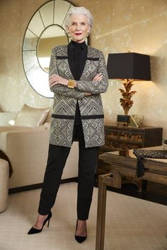 Maye Musk is the quintessential Black Label woman: chic, sophisticated, and a fashionista to boot. She is taking this geometric blazer to new heights.