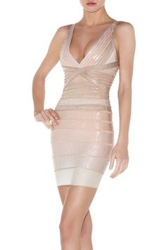 Herve Leger Pilar Sequined Ombre V-Neck Bandage Dress