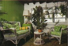 1970's green room with wicker furniture.