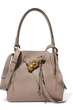 Chloé - Owen Medium Textured-leather And Suede Shoulder Bag - Gray