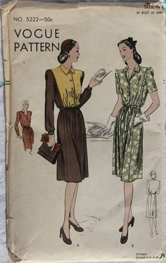 1940s Vogue 5222 Vintage Sewing Pattern Misses by GreyDogVintage, $12.00