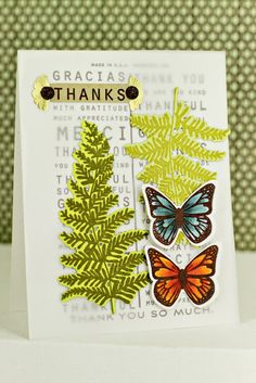 Butterfly Thanks Card by Erin Lincoln for Papertrey Ink (July 2013)