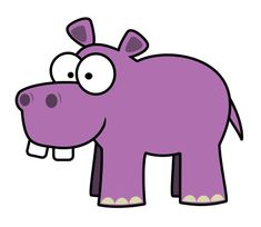 It's pink. It's large. It's made with large teeth. It's a cartoon hippo.