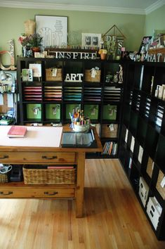 """Few things make me as happy as a full and organized EXPEDIT bookcase - but when you realize this is the BEFORE photo it's just mind-blowing! Click through for a fabulous craft room makeover!""    I like the colored paper being visible. I don't have that much paper, but could use my drawers for other things and put out my paper like this."