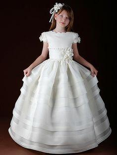 Vestido de comunión niña seda rústica Hannibal Laguna C321