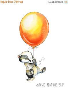 Badger's Balloon Badger Watercolor Giclee Print by PosieMeadows