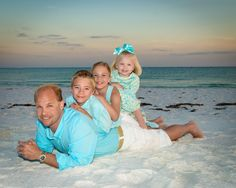 Dad with his 3 kids!  #BeachPortraits #Fatherchildren #Family