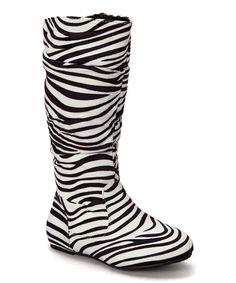 Look what I found on #zulily! Black & White Zebra Bella Slouch Boot #zulilyfinds