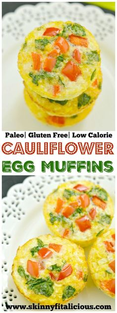 Cauliflower Egg Muffins made with cauliflower rice! With 6 grams of protein & less than 1 gram of carbs, these egg muffins make a nutritious make ahead breakfast you can take with you on-the-go! Paleo + Gluten Free + Low Calorie.