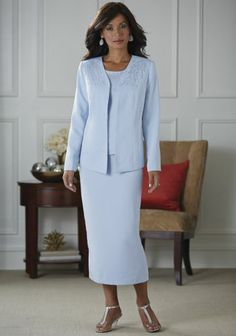 Sparkle 3-Piece Suit from Midnight Velvet. With its waterfall of sequins from the shoulders, this icy blue crepe suit brings a touch of evening wear to your daytime.