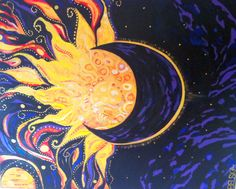 "painting of the sun | Paintings (Originals) For Sale | ""Sun Moon Eclipse"" Original Abstract ..."