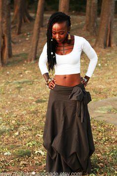 Anahata  Brown Bohemian ruched draped skirt by manakahandmade, £42.00