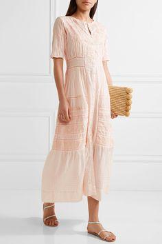 Della pointelle-trimmed embroidered cotton maxi dress