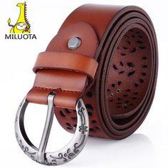 [MILUOTA] 2015 100% Genuine leather vintage belts for women fashion metal Pin buckle women belt brand cintos femininos LD4757