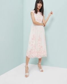 Embroidered midi dress - Baby Pink | Dresses | Ted Baker UK #WedWithTed @tedbaker