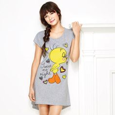 "Tweety with Hearts Nightshirt. Cute & cozy sleep tee shows Tweety saying ""Tweet me right."" Cotton/polyester. $19.99  visit Youravon.com/theresa503"