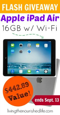 One random winner will receive an Apple iPad Air 16GB Tablet with Wi-Fi valued at $442.89