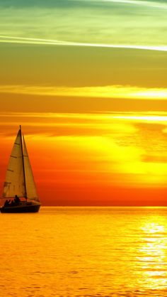 Download Wallpaper 640x1136 decline, sailing vessel, birds, orange, sun, lunar path, sea, horizon, sky iPhone 5S, 5C, 5 HD background