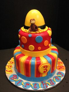 3 tier fondant Curious George birthday cake