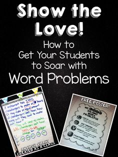 Helping students show their work on word problems. Several freebies on this post.