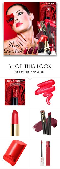 """Red lipstick"" by elona-makavelli ❤ liked on Polyvore featuring beauty, Givenchy, Lime Crime, L.A. Girl, Bobbi Brown Cosmetics, Maybelline and Kevyn Aucoin"