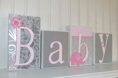 Custom personalized name wooden block decor great christmas gray and pink elephant baby block letters baby nursery home decor personalized baby gift custom wooden negle Gallery