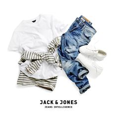A winning formula: Blue jeans, a white tee and crispy sneakers. #jeansintelligence #denimaddict #jackandjones #jjsummer #whitetee #basic #jeans #outfit #style #sneakers #dope #swagger