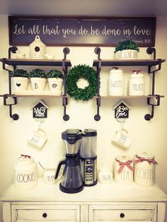 My new Coffee Bar show casing some of my amazing Rae Dunn items!